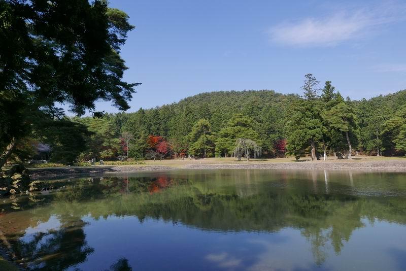 毛越寺大泉ヶ池紅葉の風景