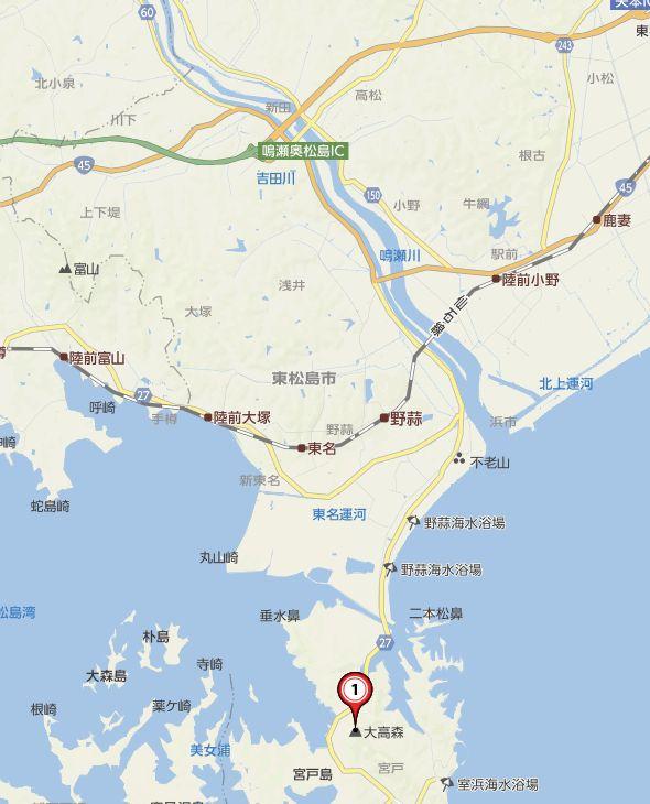 大高森へのアクセス地図