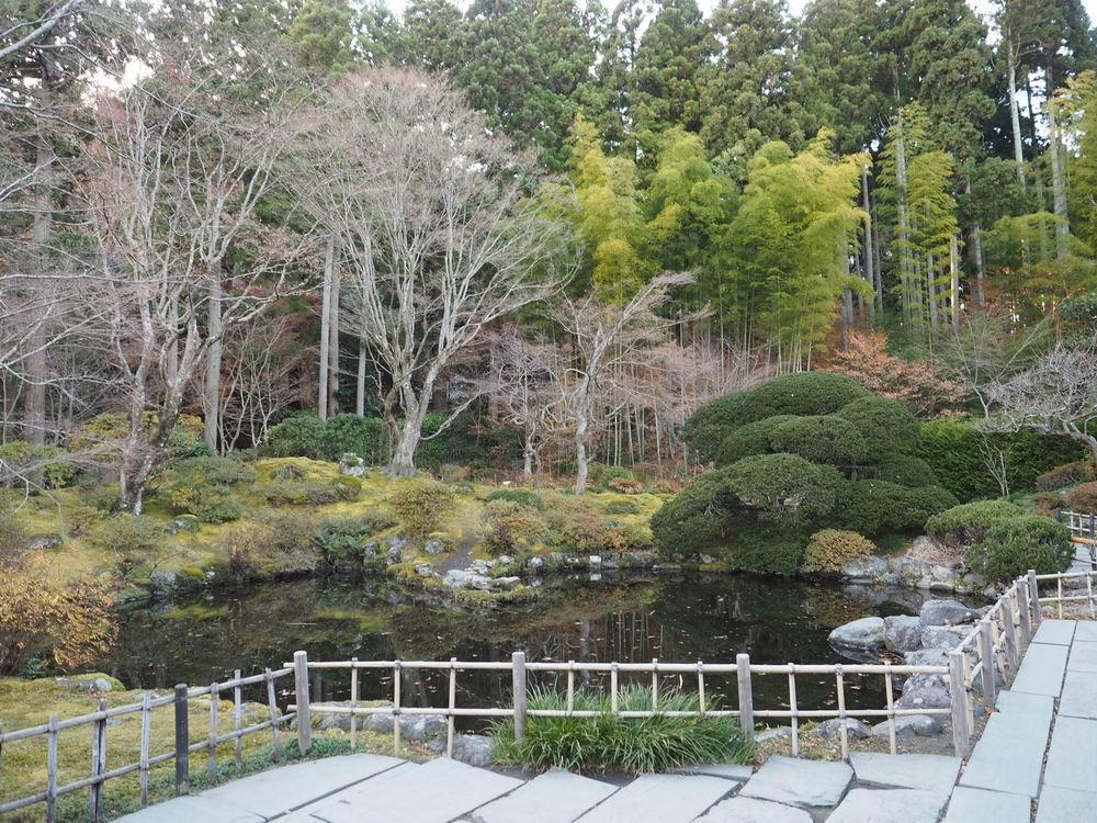 晩秋の円通院の本堂前の池の写真画像