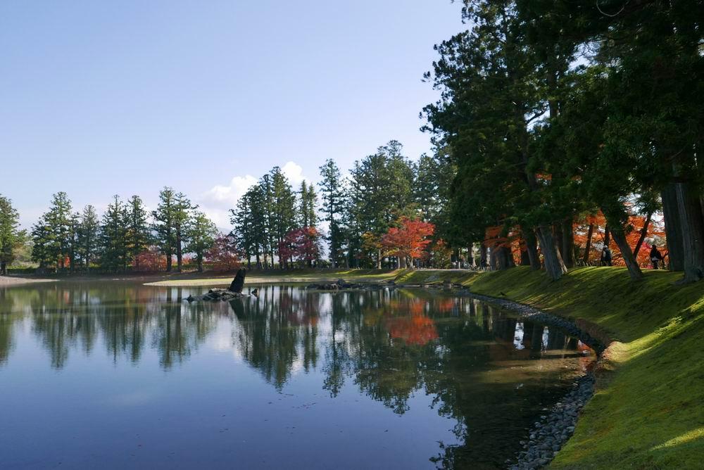 世界遺産毛越寺の秋の紅葉写真