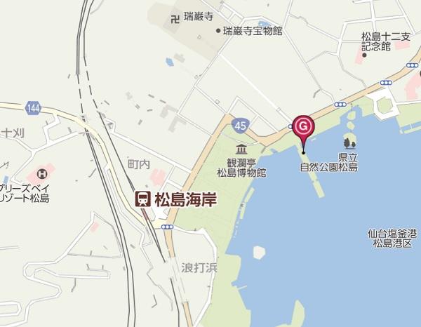 松島遊覧船の乗り場の地図