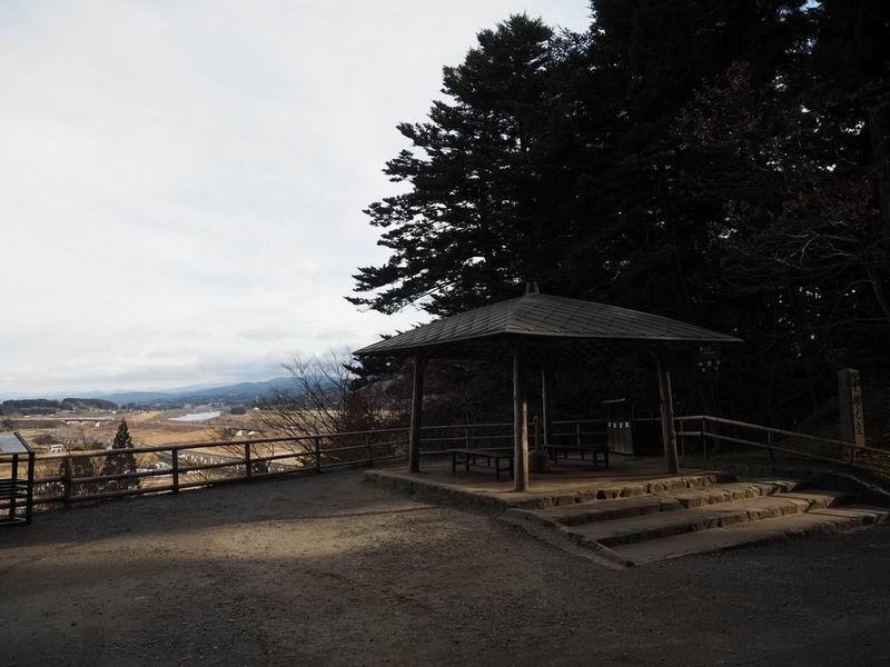 中尊寺の休みどころの風景